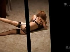 Hot Redhead in nylons gets voyeured
