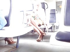 Sexy blondy in train