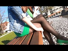 candid sexy pantyhose in park