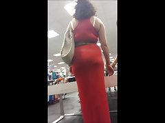 Ass in tight red dress