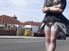 white stockings windy upskirt