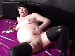 Fucking My Dildo Covered In Oil & Smoking - Latex BBW