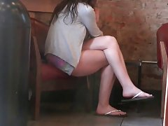 Candid Brunette Feet and Legs in Flip Flops Starbucks