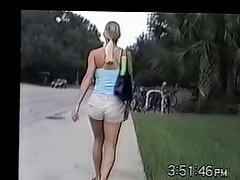 Hot Blonde in Khaki Shorts