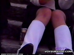 Uniform School Girl Upskirt Panties Exposed