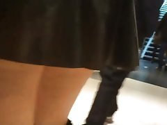 Lycaena shopping in latex skirt, bending over and flashing