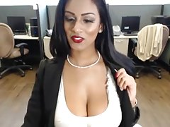 Sexy Ebony Chick Teasing On Cam In Office no sound