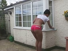 cleaning in shorts