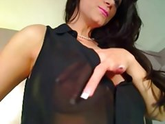 Sexy Brunette Milf Strips And Rubs Clit On Cam