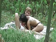 Brunette sex outdoor