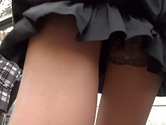 short black dress tan stockings upskirt