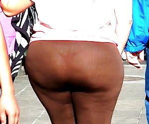 Fat ass BBW see through thong spandex