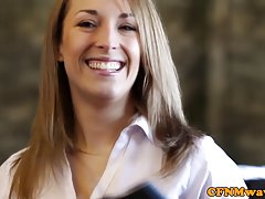 Brit femdom Lucy Love and pals cfnm bj