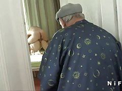 French voyeur Papy watching sodomy of a young couple
