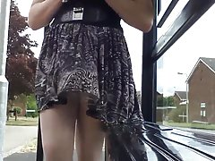 black and white windy upskirt stockings