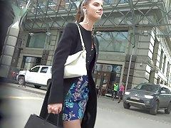 cute girl in short dress stockings upskirt