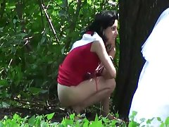 Spy brunette outdoor
