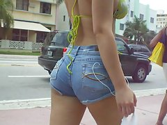 Hot Latina in Pigtails Walking in Miami