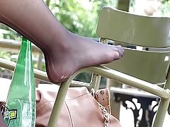 Candid Nylon Feet of French Gorl at Park