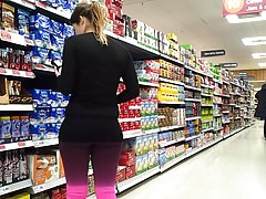Tight supermarket spandex asses