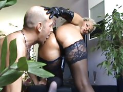 Mature lady gets rimmed by horny men
