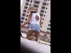 sexy hot milf undress spy at beach